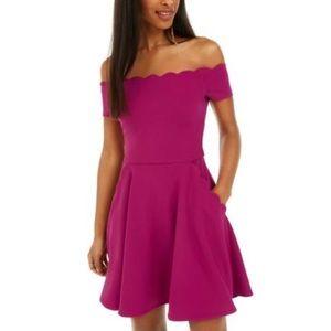 B.Darlin Off Shoulder Micro Mini Trapeze Dress